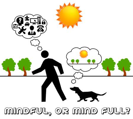mindful or mind full illustration