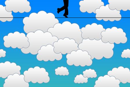 Sky walking illustration