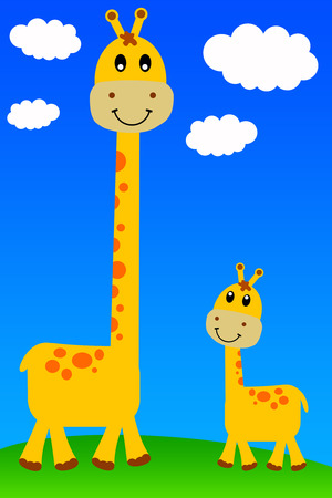 Young and old giraffe illustration