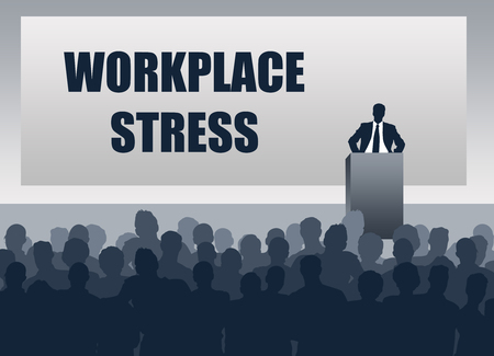 Workplace stress discussion illustration Stock Photo