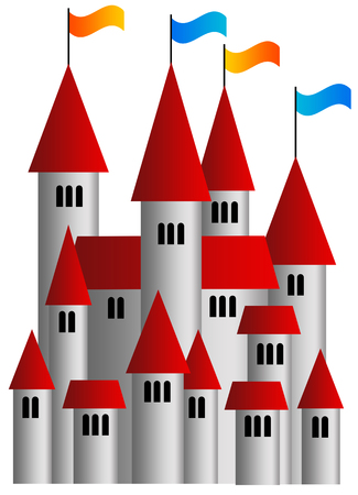 Castle flags illustration Stock Photo