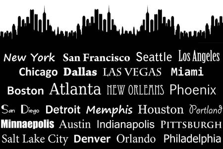 American cities illustration Stock Illustration - 117045224