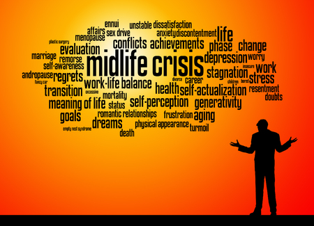 man's midlife crisis illustration