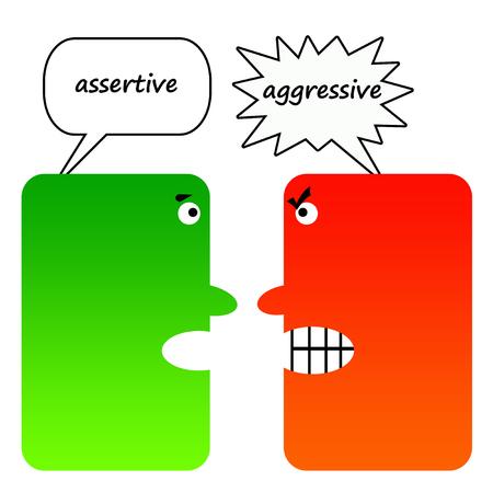 Assertive versus aggresive illustration