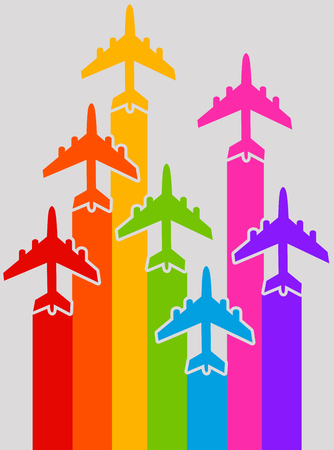 Rainbow airplanes illustration