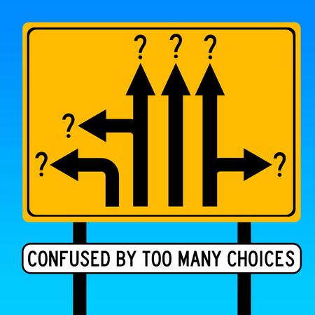 too many choices illustration Stockfoto - 117045391