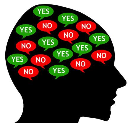Ilustracja sprzecznych myśli wewnętrznych