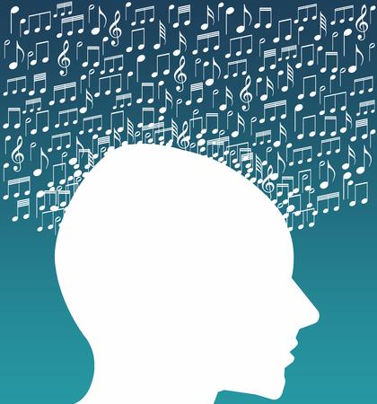 Listening to music illustration 스톡 콘텐츠