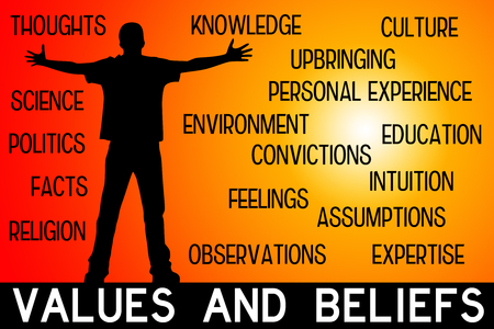 Values and beliefs illustration Stockfoto