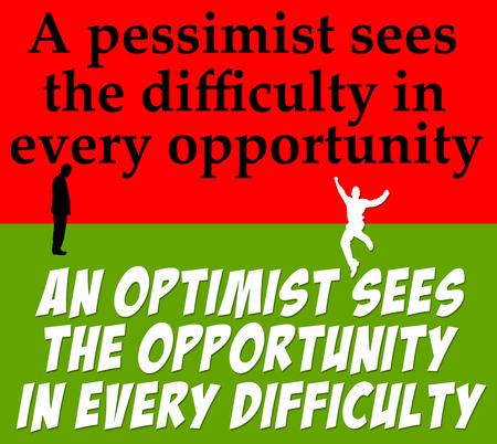 optimism pessimism illustration Banco de Imagens