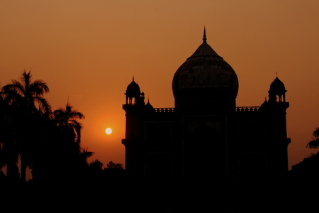 India temple sunset Banque d'images