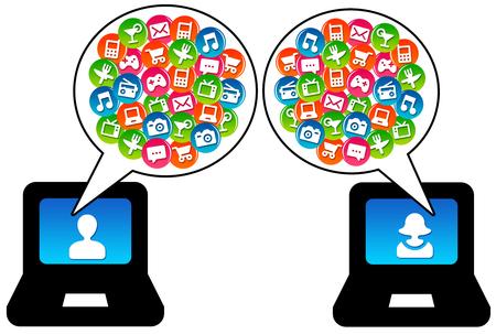 internet communication illustration