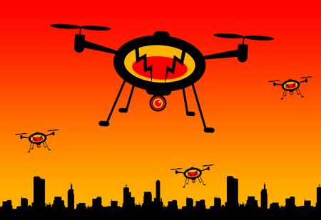 city drones illustration Stok Fotoğraf