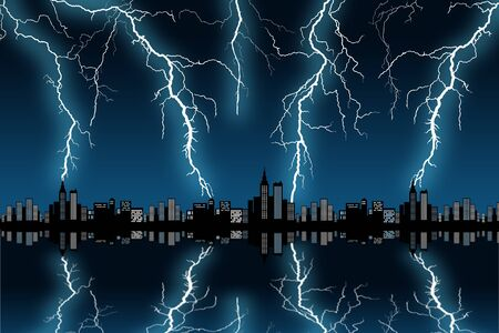 city thunderstorm illustration Stock Photo