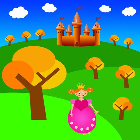 Castle princess illustration 写真素材