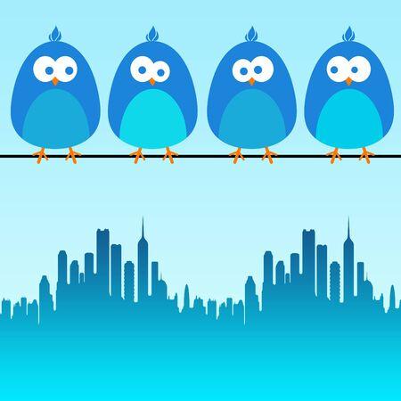 blue city birds illustration