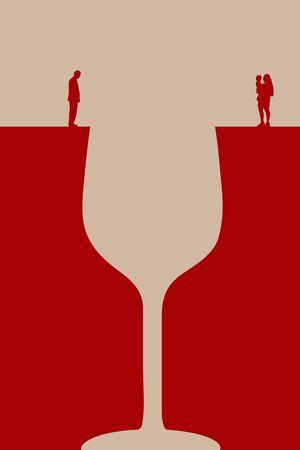 family alcoholic illustration Foto de archivo