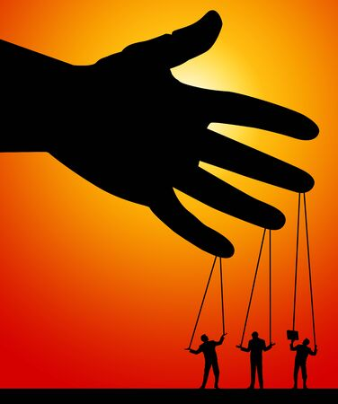 puppets on a string illustration Stock Photo