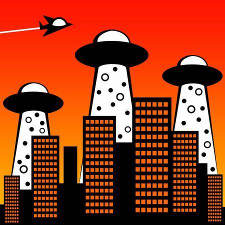 Alien attack illustration