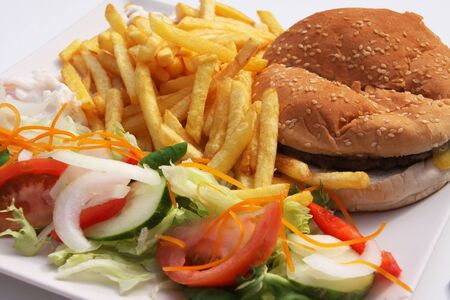 hamburger fries Stock Photo