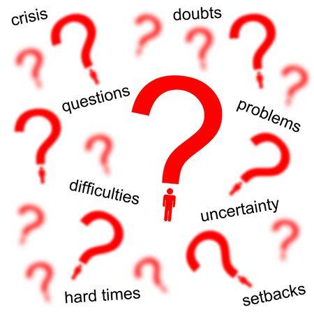 personal questions troubles illustration 版權商用圖片 - 132409012