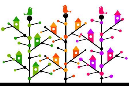 Tree birds illustration