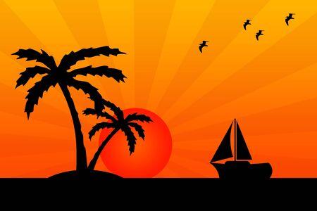 Tropical island illustration 版權商用圖片 - 132409022