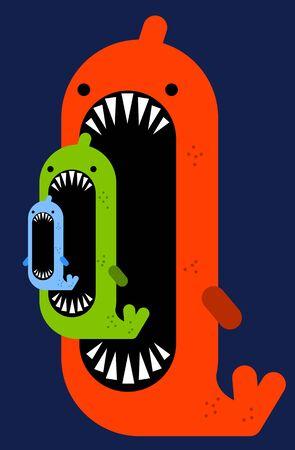 Big fish small fish illustration