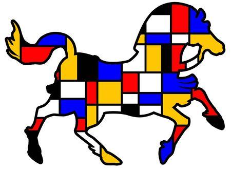 ilustración colorida del caballo