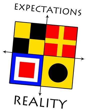 expectations versus reality illustration 版權商用圖片