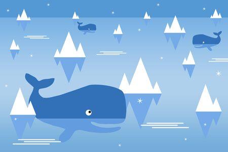 ocean whales illustration 版權商用圖片