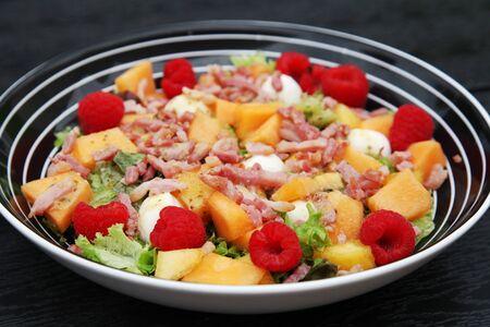 melon raspberry mozzarella salad