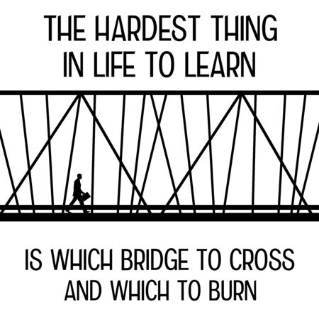 crossing the bridge life illustration Reklamní fotografie
