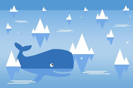 whale ocean illustration