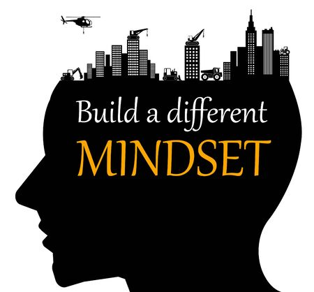 Different mindset with human silhouette Standard-Bild