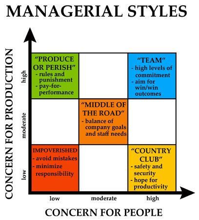 Management styles  on white