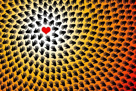 heart hands illustration 版權商用圖片