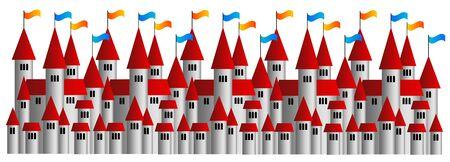 medieval castle city illustration