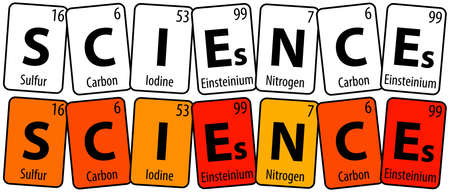 illustration - Sciences with elements from the table of Mendeleev