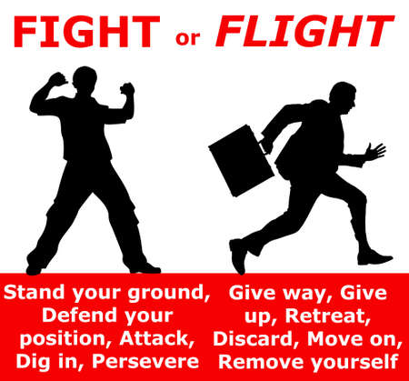 illustration - fighting or fleeing when encountering a threat