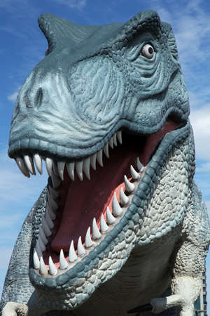 close up of a huge Tyrannosaurus Rex dinosaur