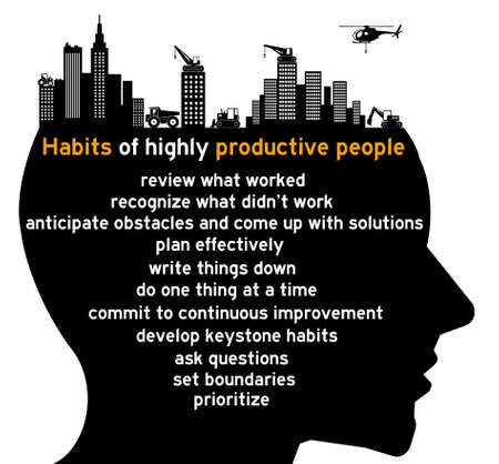 habits productive people illustration