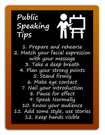 public speaking tips blackboard illustration