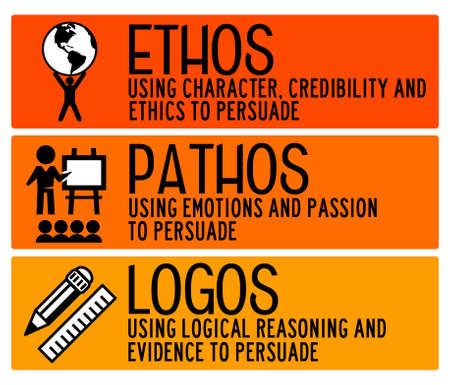 ethos pathos logos illustration Фото со стока