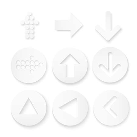 newest: Arrow sign icon set. Simple circle shape internet button on white background. Contemporary modern style. Vector illustration.