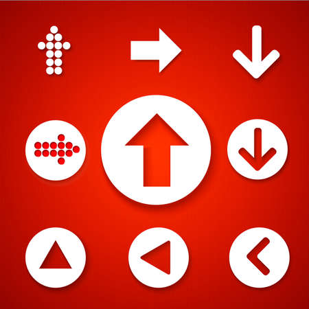 Arrow sign icon set. Simple circle shape internet button on red background. Contemporary modern style. Vector illustration.