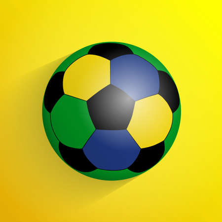 different goals: Simple style colorful football soccer ball with shadow isolated on yellow background. Vector illustration.