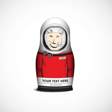 spaceman: Cosmonaut spaceman funny toy doll. Vector Illustration