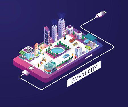 Isometrisches Grafikkonzept der intelligenten Stadt