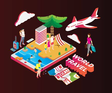 Isometric artwork concept world travel Иллюстрация